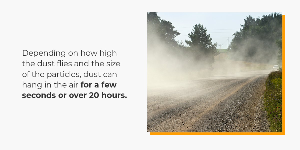 dust when driving on an unpaved road